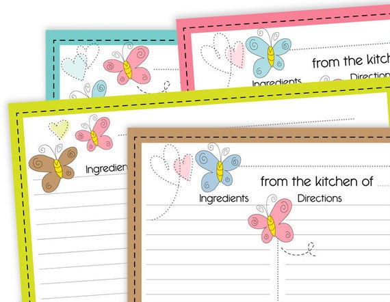 Butterfly Love Recipe Cards Lined 4x6 No 824 - instant download