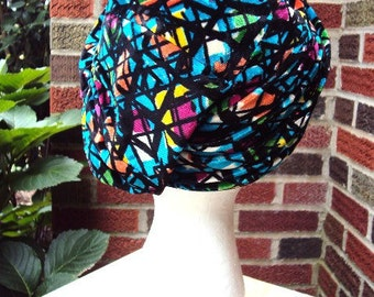 Vintage French Turban Hat 1950s with Colorful Velour Mod Modernist Signed Lazarus Paris