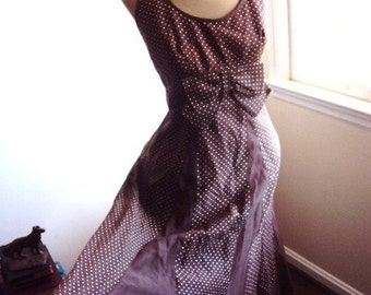 Vintage 50s Long Evening Halter Dress with Shawl .. Chocolate Brown and Cream Polk a Dots