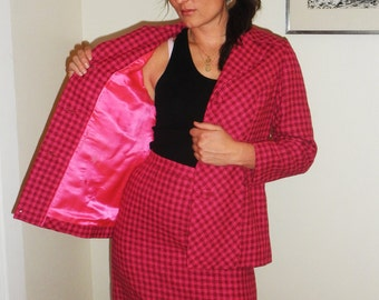 SALE Vintage 1960s Pink Plaid Houndstooth Two Piece Mad Men Skirt and Blazer Suit by Royal India Tailors M/L