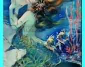 MERMAID FABRIC Vintage Mermaid Poster Quilt Fabric Blocks Applique For Quilting s276.