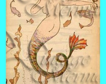 ART NOUVEAU Mermaid Cotton Fabric Panel Quilting Sewing Fabric Mermaid Print s286.