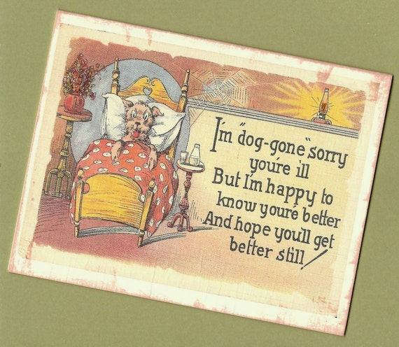 Get Well Card, Dog Get Well Soon Card - vintage illustration