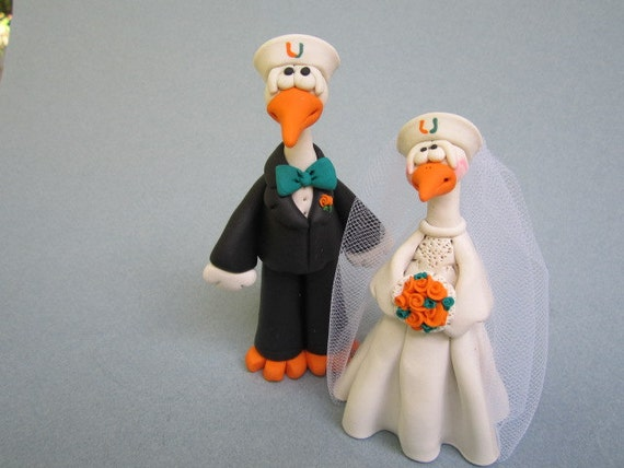 University of Miami Hurricane Bride and Groom Wedding Cake Topper
