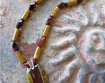 Earthy Tiger Iron Pendant Necklace with Tiger's Eye and Gold Coral
