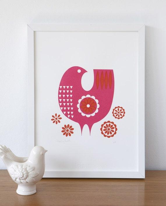 Pink daisybird screenprint