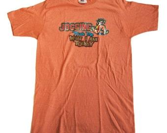 Vintage Tshirt 70's Glitter Iron On Graphic Unworn Condition SMALL XS