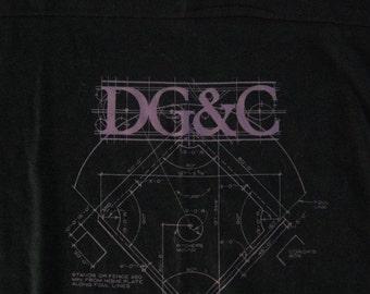 DG C Purple Black Soft Thin 80s Tee TShirt Black LARGE MEDIUM