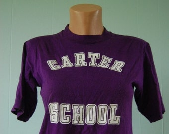 SALE Vintage Tee Carter School Super Soft and Thin Purple TShirt MEDIUM Small