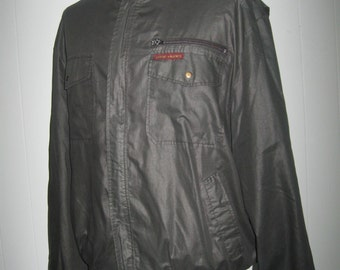 SALE Sergio Valente Vintage Bomber 80s Members Only Style Jacket 1980s Black Coat retro LARGE XL