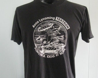 Vintage Military TShirt Tanks Planes Airplane Retro Classic Rocker Distressed Black n White LARGE