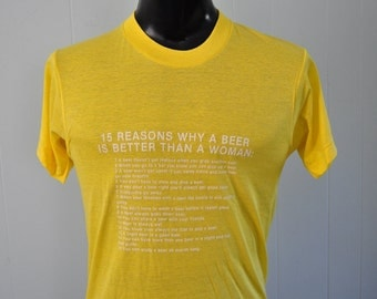 SALE Burnout Tee Beer Better Than Women Insanely Soft n Thin Yellow White MEDIUM
