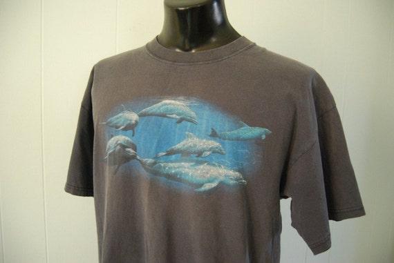 Vintage Dolphin Tee Faded Black TShirt Distressed XL