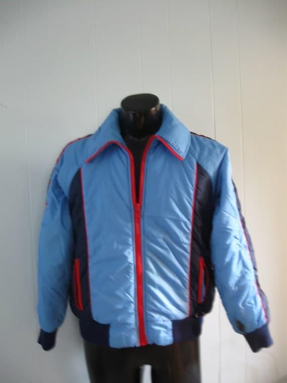70s 80s Puffy Winter Ski Jacket by Activa Coat Casual Navy Blue Light Red unisex MEDIUM SMALL