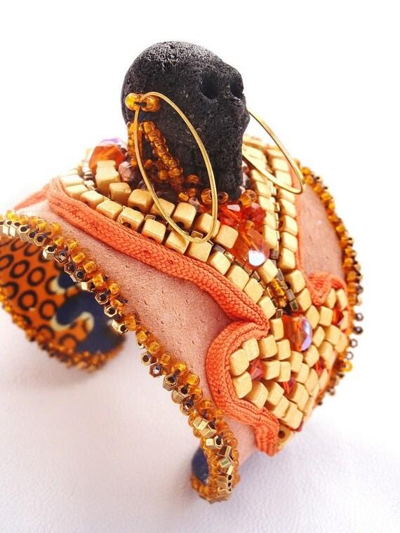 Black  Lava Skull  cuff , Tribal jewelry  , orange cuff , bead embroidered bracelet TRIBAL CUFF , ethnic statement cuff , african jewelry
