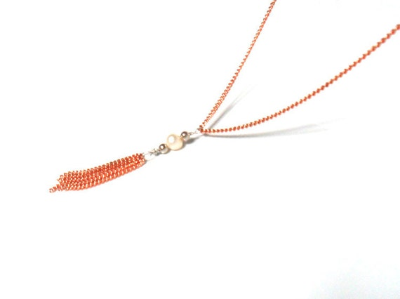 Delicate Copper Necklace Pearl tassel  Simple Everyday Jewelry Bohemian Tribal Chic