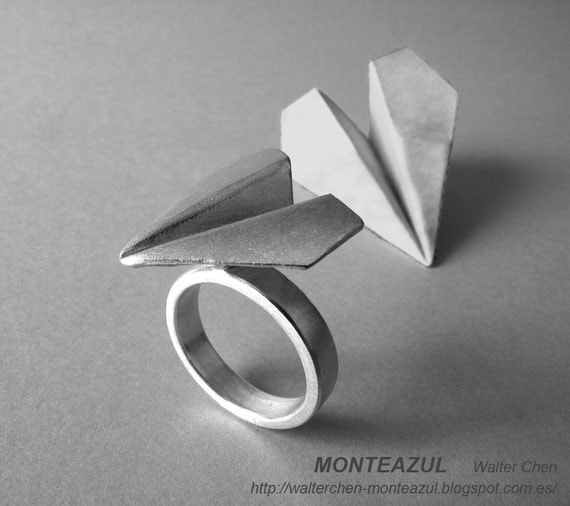 Origami Airplane Ring Silver Airplane Ring Origami Plane Jewelry