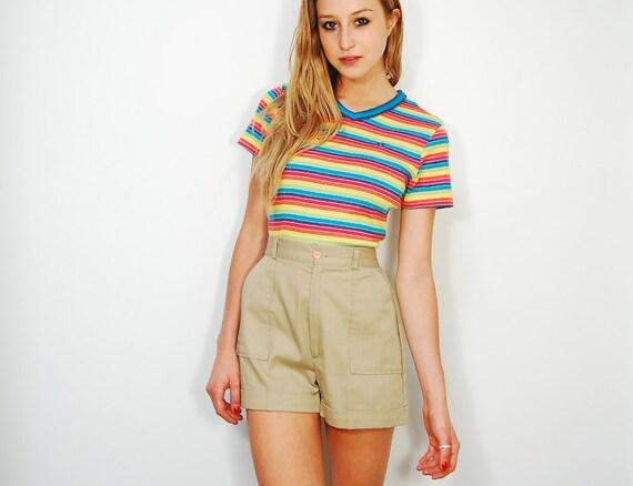 SALE 20% Off: PREHOLIDAY20 70s High Waisted Khaki Safari Shorts Size S/M