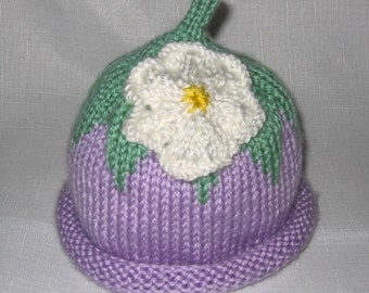 SALE Knit Lavender Blossom Baby Hat great photo prop