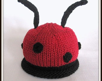 Ladybug Hat, Knit Cotton Baby Hat, great photo prop