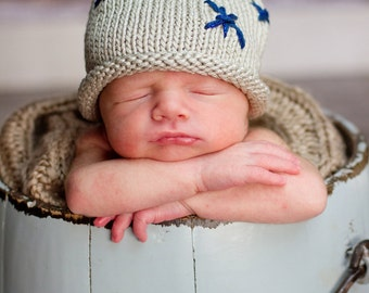 READY TO SHIP Knit Silver Starlight Cotton Baby Hat great photo prop