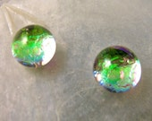 Translucent Green Mermaid Tears, Dichroic Glass Earrings in Juicy Lime Green