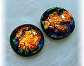 Custom order for Emily ONLY Dichroic Glass Stud Post Earrings, Orange, Tangerine, Copper Fire 11-12mm
