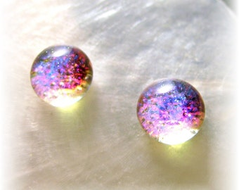 Translucent Mermaid Tears Magenta Pink Opal Dichroic Glass Earrings
