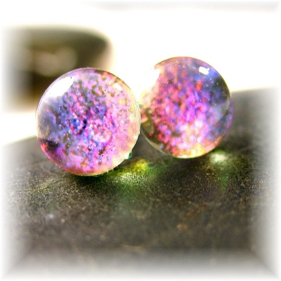 Pink Magenta Studs, Mermaid Tears, Translucent Opal, Dichroic Glass Stud Earrings, Bright Pink, Small Posts, Fused Glass ,Classic Earrings