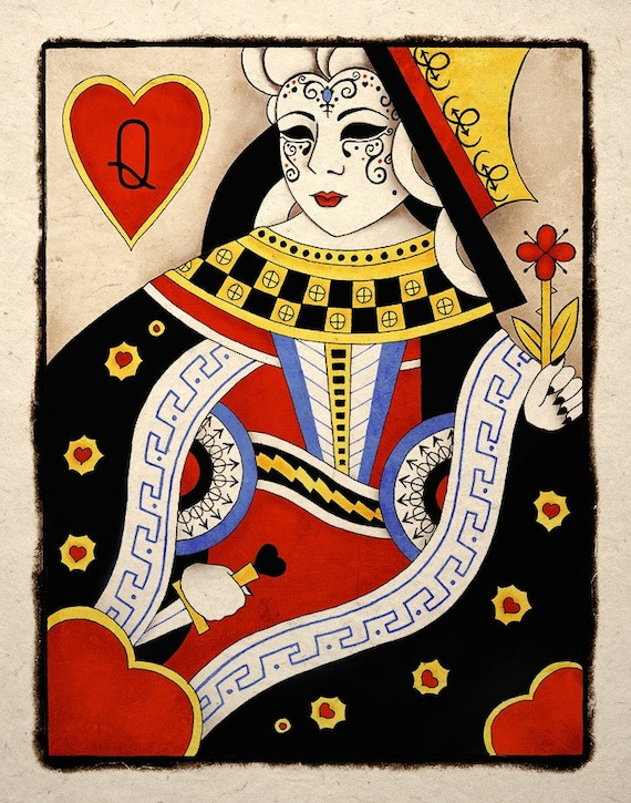 Dark Sinister Queen Of Hearts Gothic Art Print