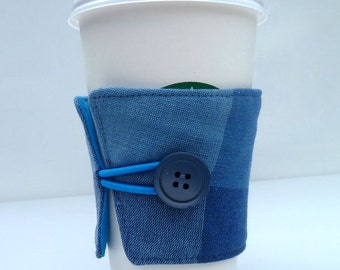 Blue Plaid Coffee Cup Cozy Sleeve