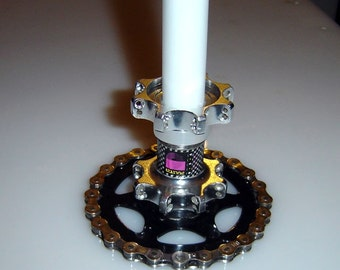 Steampunk Industrial Candle Holders Bicycle Hub Upcycle Gear Chain Base