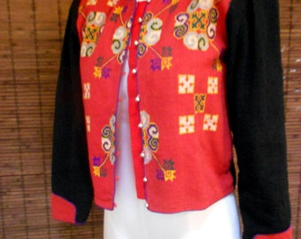 Vintage Colorblock woven Tribal Ethnic Bohemian Cropped jacket M