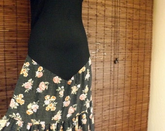 Vintage Drop Waist Tiered Floral and Polka dot Maxi Dress M-L Free shipping