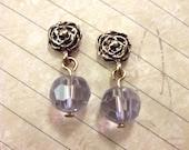 Lavender Crystal Gold Rose Dangle Earrings