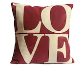 Love Pillow Cover Appliqued in Antique White on Ruby Red Eco-Felt - 18 inches