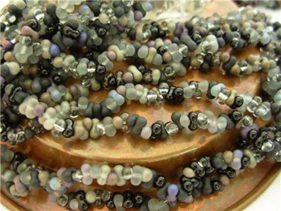 2X4mm Czech Farfalle Seed Beads- Jet/ Black Diamond Mix (2 Strands)