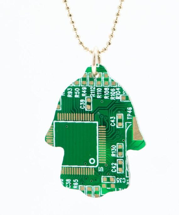 Geek Hamsa-Hamsa Necklace-Recycled Hamsa-Chamsa-computers chip Amulet-Recycled Computer Necklace-Computer Jewelry-Bar Mizva Necklace-חמסה-MJ