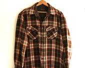 A Brown Plaid Shirt - Vintage Mens