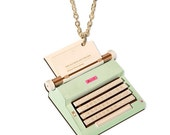 Vintage Typewriter Necklace, Green or Blue