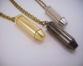 Best friend gift. Friendship necklace. Bullet jewelry. Long necklaces. Set of 2 or 3 best friend gift. Gold, silver, gun metal.