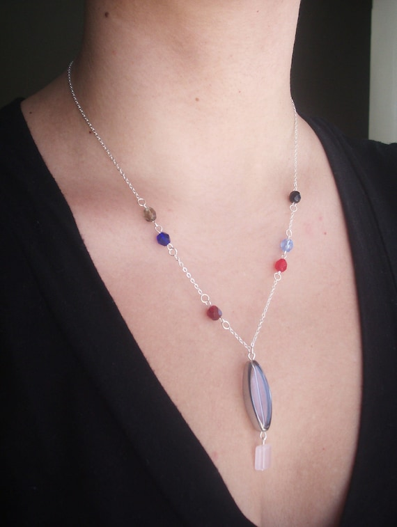 Silver necklace. Y necklace. Delicate beadwork, glass beads, colorful. Silver, red, black, blue, pink. Beaded jewelry. OOAK gift.