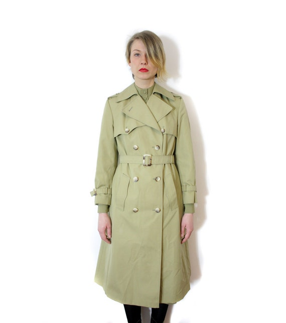 Vintage coat / 1970s Diolen pale  olive trench overcoat / size M
