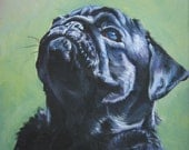 "black Pug canvas art print of LA Shepard painting 8x10"" dog art"