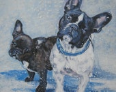 French Bulldog frenchie dog art CANVAS print of LA Shepard painting 8x8