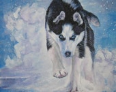 Siberian Husky dog art CANVAS print of LA Shepard painting 8x8