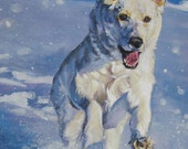 German Shepherd dog art CANVAS print of LA Shepard painting 12x16