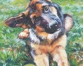 German Shepherd art CANVAS print of LA Shepard painting 12x16 alsatian dog