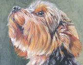 "Yorkshire Terrier YORKIE PORTRAIT canvas PRINT of LAShepard painting 12x16"" dog art"