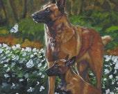 "Belgian Malinois canvas print of L.A.Shepard painting 12 x 12"" dog art"